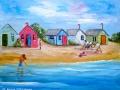 """""""Beach huts"""" by Anne Whigham"""